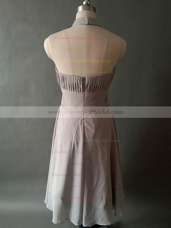 Halter Gray Chiffon with Pleats Knee-length For Cheap Bridesmaid Dresses #DOB01012531