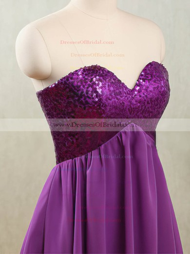 Sweetheart Purple Chiffon Sequined Lace-up Short/Mini Bridesmaid Dresses #DOB01012532