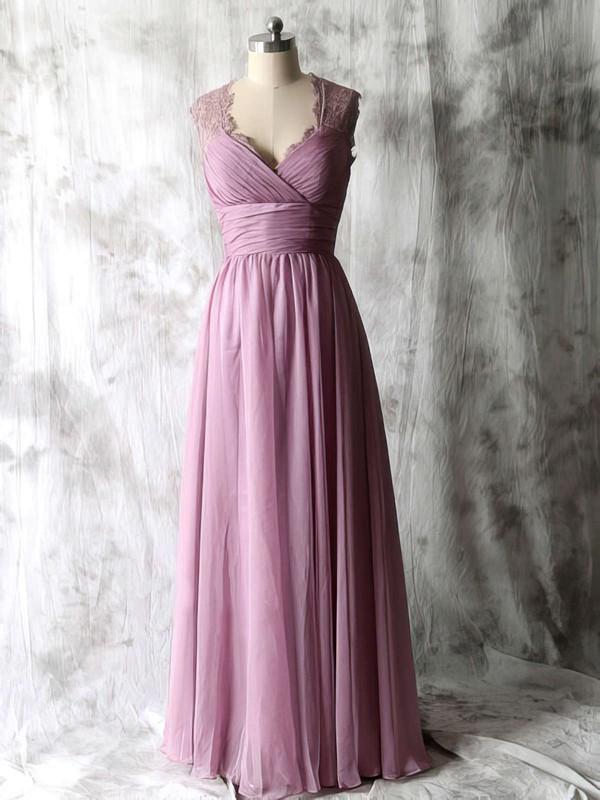 Pretty Open Back Purple Chiffon Lace V-neck Floor-length Bridesmaid Dresses #DOB01012534