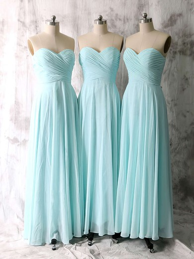 Nice Light Sky Blue Chiffon Ruffles A-line Sweetheart Bridesmaid Dresses #DOB01012535