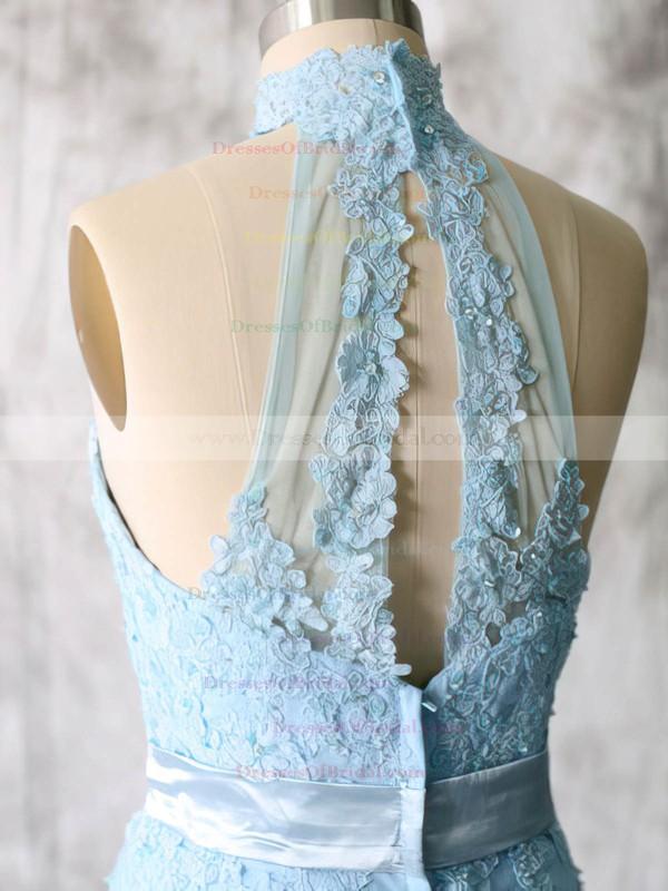 Sheath/Column Lace Tulle Appliques Short/Mini High Neck Bridesmaid Dresses #DOB01012538