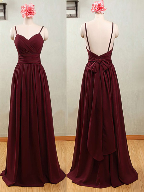 Wholesale Sweetheart Chiffon with Spaghetti Straps Open Back A-line Bridesmaid Dresses #DOB01012539