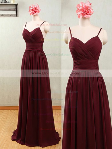 Wholesale Sweetheart Chiffon with Spaghetti Straps Open Back A-line Bridesmaid Dresses #DOB01012539