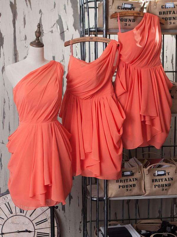 Popular One Shoulder Ruffles Sheath/Column Watermelon Chiffon Bridesmaid Dresses #DOB01012540