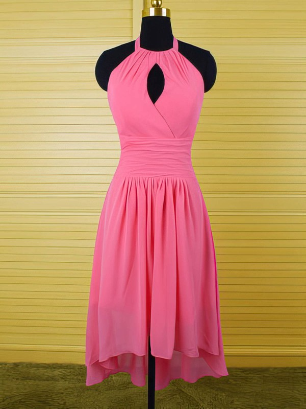 Nice Halter Ruffles High Low Fuchsia Chiffon Sheath/Column Bridesmaid Dress #DOB01012541