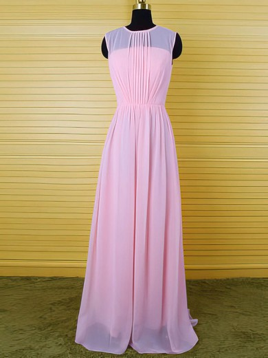 Simple Pearl Pink Chiffon Floor-length Ruffles Sheath/Column Scoop Neck Bridesmaid Dress #DOB01012542