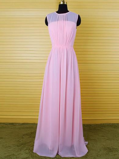 Simple Pearl Pink Chiffon Floor-length Ruffles Sheath/Column Scoop Neck Bridesmaid Dress #DOB01012542