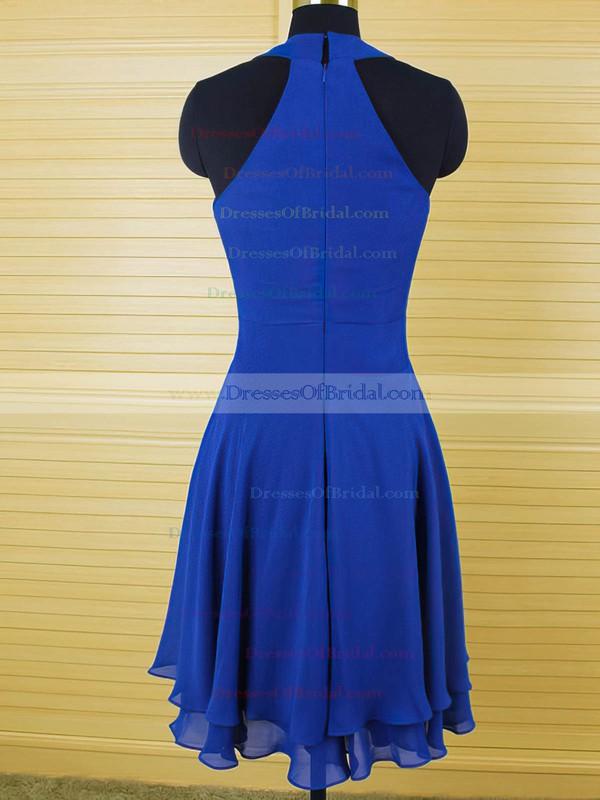 Cool Scoop Neck Ruffles Royal Blue Chiffon Knee-length Bridesmaid Dress #DOB01012543