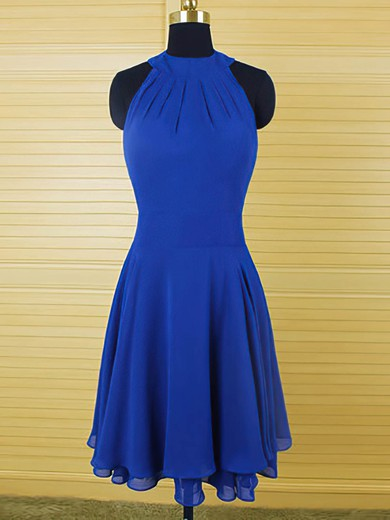 Cool Scoop Neck Ruffles Royal Blue Chiffon Knee-length Bridesmaid Dress #DOB01012543