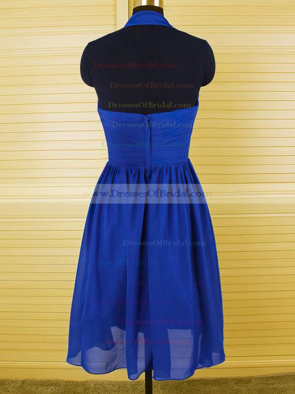 Hot Halter Royal Blue Chiffon Ruffles Knee-length Bridesmaid Dress #DOB01012544