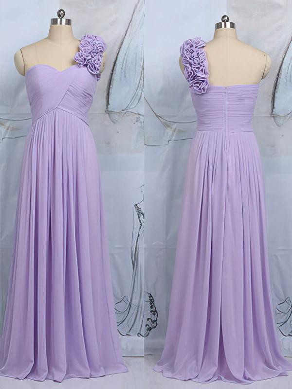 Modern One Shoulder Lilac Chiffon Flower(s) Sheath/Column Bridesmaid Dress #DOB01012545