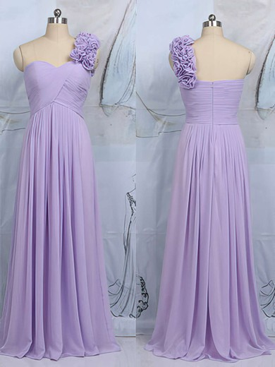 Modern One Shoulder Lilac Chiffon Flower(s) Sheath/Column Bridesmaid Dress #DOB01012545