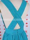 New V-neck Pleats Floor-length Blue Chiffon Bridesmaid Dress #DOB01012549