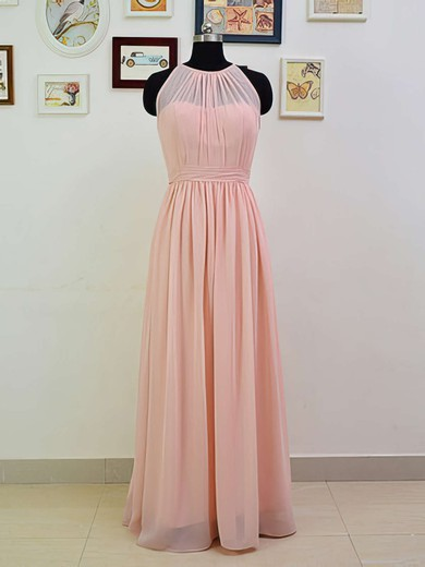 Top Scoop Neck Ruffles Pink Chiffon Floor-length Bridesmaid Dresses #DOB01012551