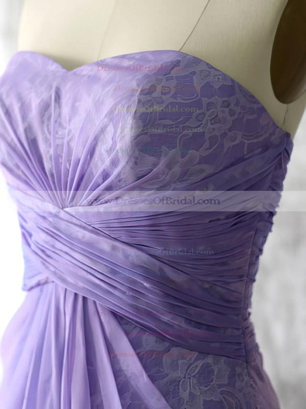 Nice Lace Chiffon Sweetheart Sheath/Column Lavender Bridesmaid Dresses #DOB01012552