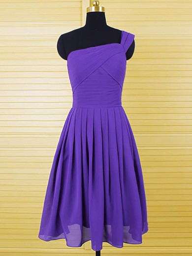 Unique One Shoulder Chiffon Ruffles A-line Purple Bridesmaid Dresses #DOB01012554