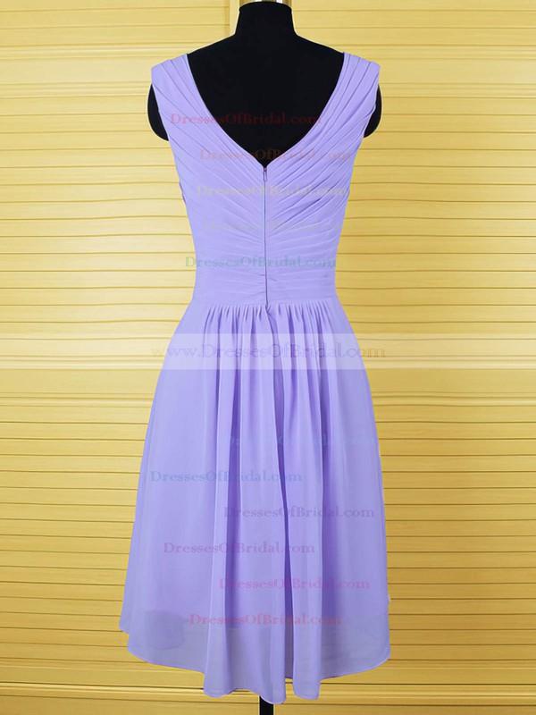 A-line Lavender Chiffon Crystal Detailing Knee-length Bridesmaid Dresses #DOB01012555