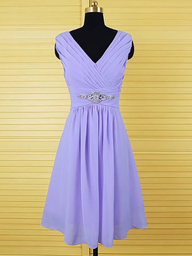 A-line Lavender Chiffon Crystal Detailing Knee-length Bridesmaid Dresses #DOB01012555