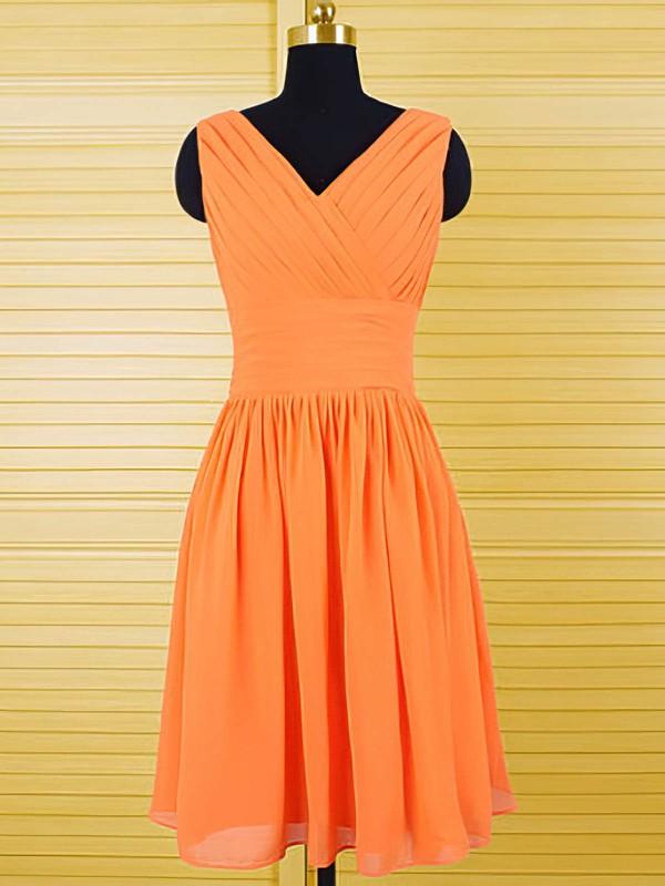 Best V-neck Ruffles Knee-length Orange Chiffon Bridesmaid Dresses #DOB01012556