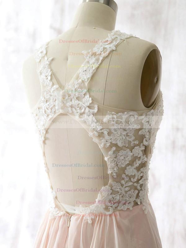 Sheath/Column Chiffon Appliques Lace Open Back Short/Mini Bridesmaid Dresses #DOB01012558