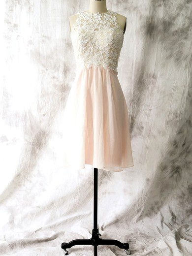 Sheath/Column Chiffon Appliques Lace Open Back Short/Mini Bridesmaid Dresses #DOB01012558