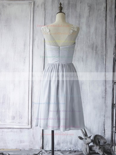 Chiffon Tulle with Appliques Lace A-line Girls Scoop Neck Bridesmaid Dress #DOB01012560