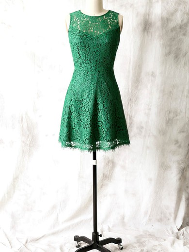 Open Back Elegant Lace Sheath/Column Scoop Neck Green Bridesmaid Dress #DOB01012561