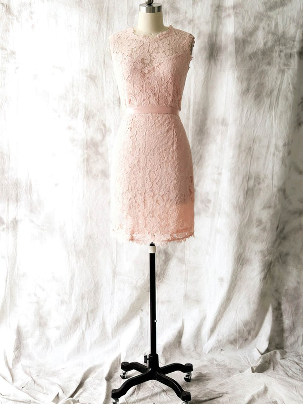 Discount Sheath/Column Lace with Sashes/Ribbons Pink Scoop Neck Bridesmaid Dress #DOB01012562