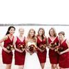 Burgundy Satin Pleats Unique Short/Mini V-neck Bridesmaid Dress #DOB01012564