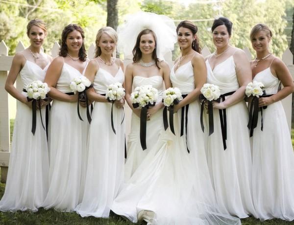 V-neck White Chiffon with Sashes/Ribbons Spaghetti Straps A-line Bridesmaid Dress #DOB01012566