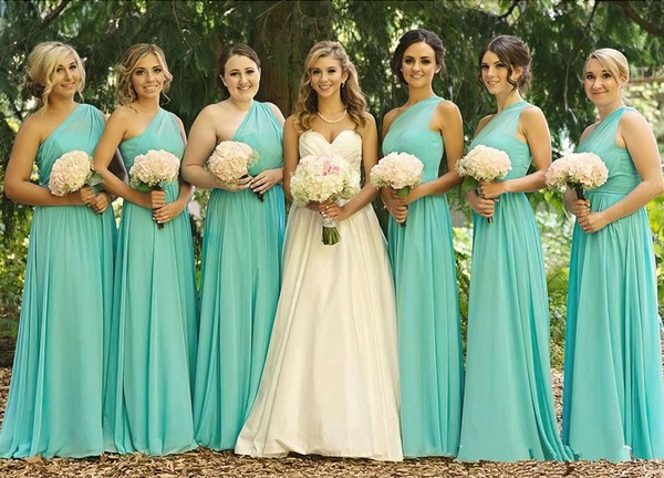 A-line Blue Chiffon Ruffles Modest One Shoulder Bridesmaid Dress #DOB01012568