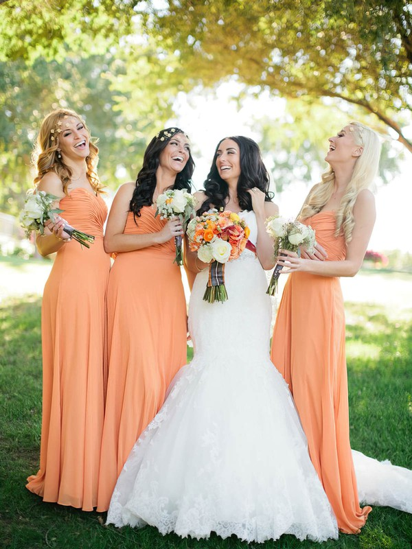 Sheath/Column Orange Chiffon with Ruffles Ladies Sweetheart Bridesmaid Dresses #DOB01012572