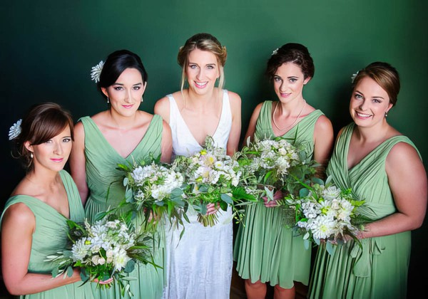 Knee-length Sage Chiffon with Ruffles Gorgeous V-neck Bridesmaid Dresses #DOB01012573