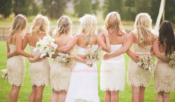 Exclusive Champagne Lace Sashes/Ribbons Short/Mini Strapless Bridesmaid Dresses #DOB01012574