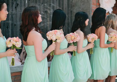A-line Sage Chiffon with Ruffles Original Sweetheart Bridesmaid Dresses #DOB01012575