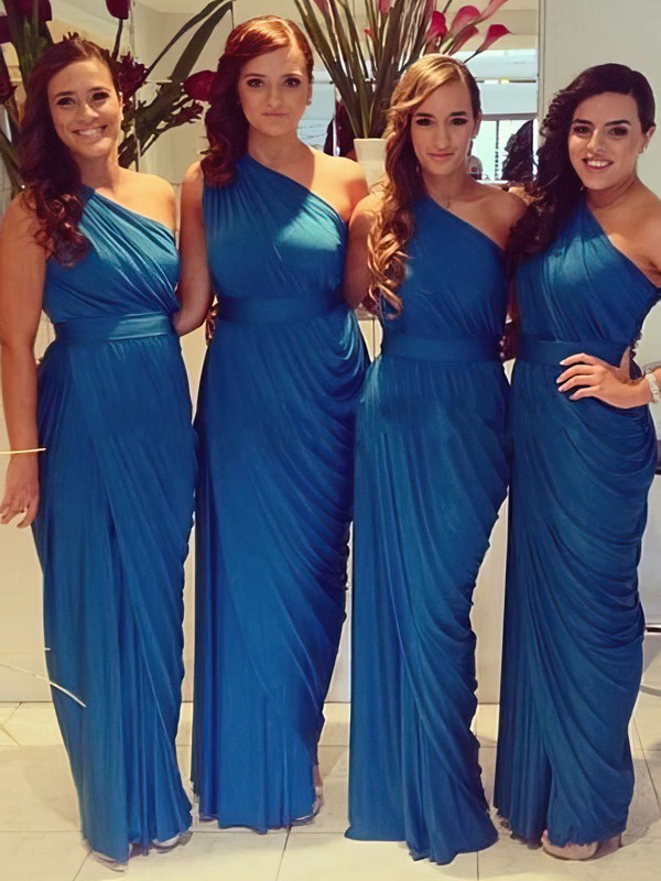 For Cheap Chiffon Ruched One Shoulder Sheath/Column Bridesmaid Dresses #DOB01012578