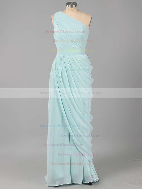 For Cheap Chiffon Ruched One Shoulder Sheath/Column Bridesmaid Dresses #DOB01012578