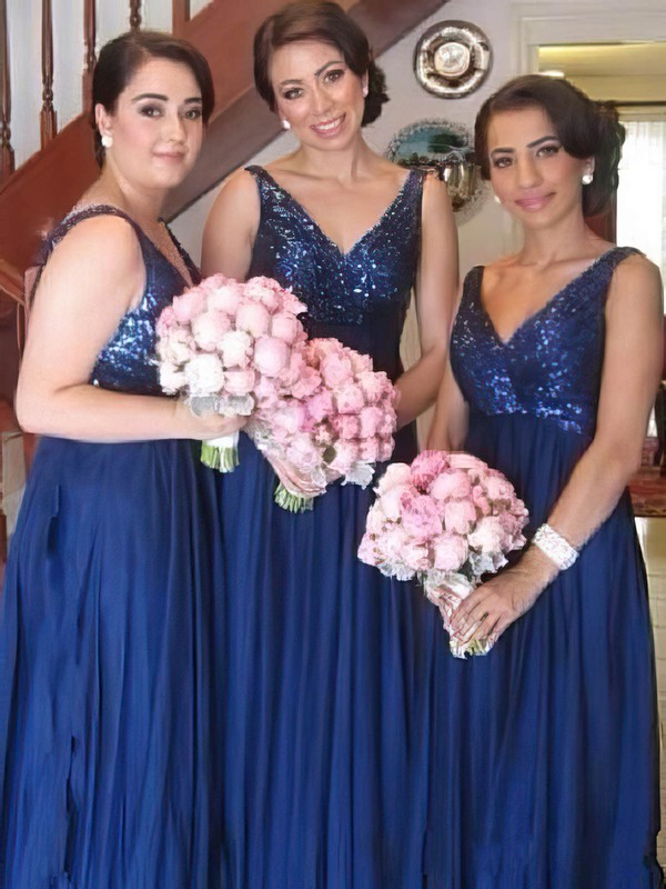 Empire V-neck Chiffon Sequined Ruffles Inexpensive Bridesmaid Dresses #DOB01012579