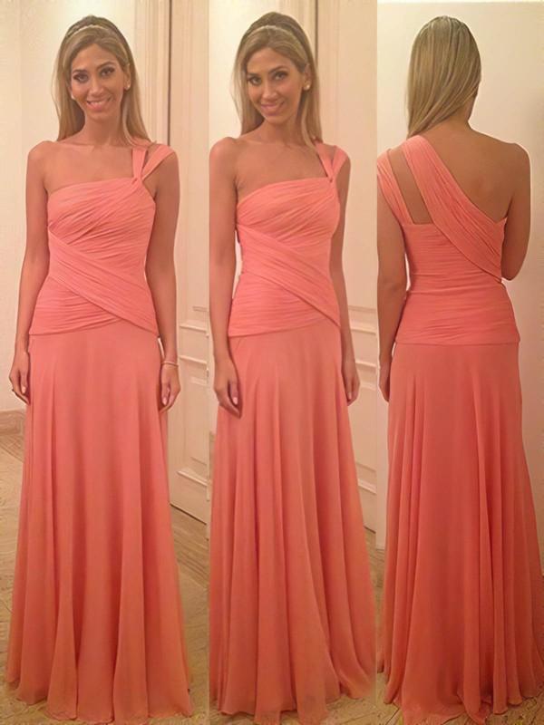 Interesting Sheath/Column Chiffon Ruffles One Shoulder Watermelon Bridesmaid Dress #DOB01012580