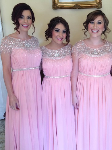Wholesale Scoop Neck Pink Chiffon Beading Floor-length Bridesmaid Dress #DOB01012583