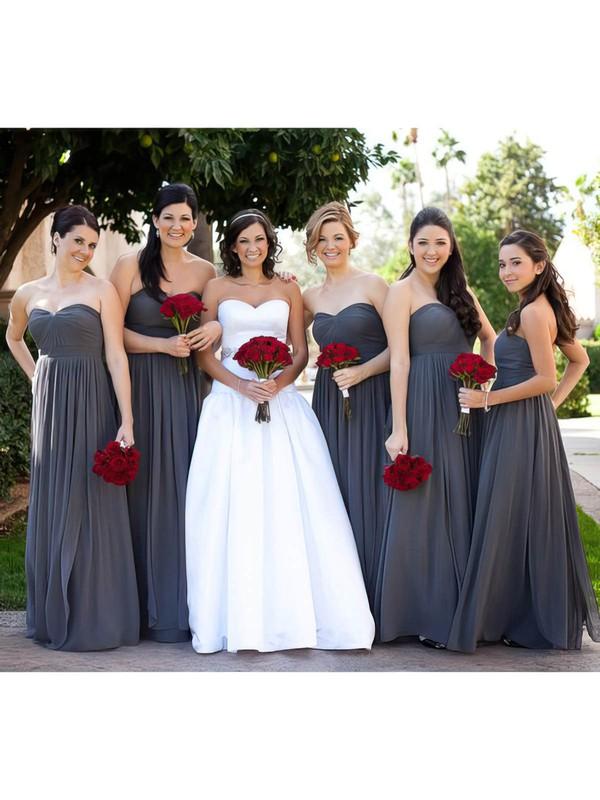 Empire Gray Chiffon Ruffles Sweetheart Nice Bridesmaid Dress #DOB01012586