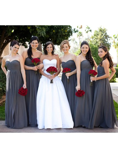 Empire Gray Chiffon Ruffles Sweetheart Nice Bridesmaid Dress #DOB01012586
