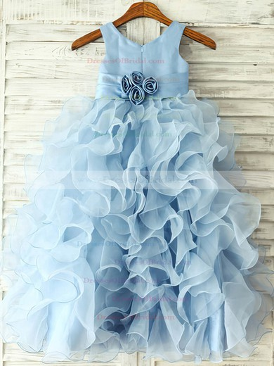 Nicest Ankle-length Ruffles Blue Organza Flower(s) Scoop Neck Flower Girl Dress #DOB01031845