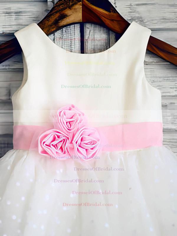 Amazing Ball Gown Flower(s) White Tulle Elastic Woven Satin Scoop Neck Flower Girl Dress #DOB01031847