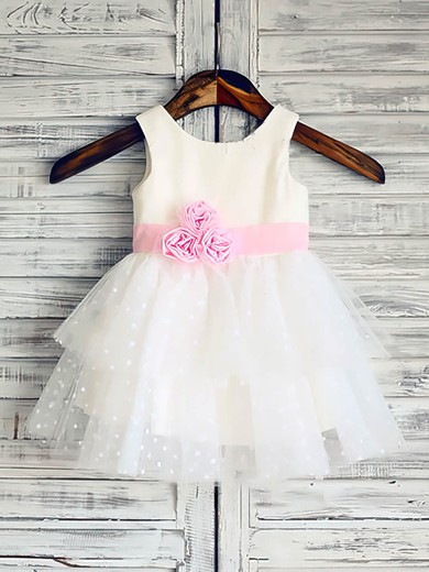 Amazing Ball Gown Flower(s) White Tulle Elastic Woven Satin Scoop Neck Flower Girl Dress #DOB01031847