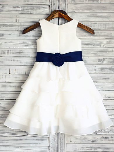Ivory Chiffon Elastic Woven Satin Tiered Scoop Neck Ankle-length Flower Girl Dress #DOB01031848