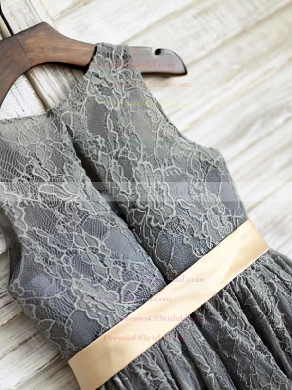 Girls Scoop Neck Sashes/Ribbons Gray Lace Ankle-length Flower Girl Dresses #DOB01031849