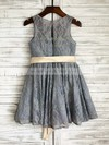 Girls Scoop Neck Sashes/Ribbons Gray Lace Ankle-length Flower Girl Dresses #DOB01031849