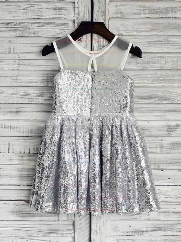 Amazing Short/Mini Ruffles Silver Sequined Scoop Neck Flower Girl Dresses #DOB01031850