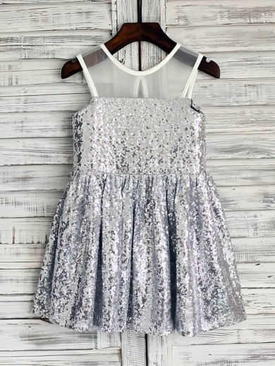 Amazing Short/Mini Ruffles Silver Sequined Scoop Neck Flower Girl Dresses #DOB01031850